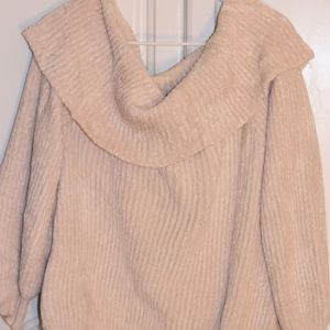 Off the shoulders fluffy sweater